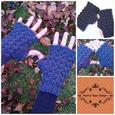 Shells and Bobbles Fingerless Gloves Free Crochet Patttern
