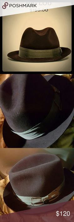 """Wool Fedora Burgundy """"This center dent crown fedora features a snap brim with a raw edge. Stiffened felt body and added single needle stitch to the grosgrain hatband.""""  Color: Burgundy, Fabric: 100% Wool Felt, Dimensions:  Brim: 2 1/2"""", Crown: 4"""" Accessories Hats"""