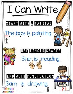 WRITING ANCHOR CHART - adorable poster showing students the difference between letters, words and sentences - perfect for a first grade or kindergarten writing center - narrative writing unit with FREEBIES #kindergartenwriting #firstgradewriting #writingcenters