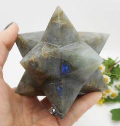 Labradorite 12 Point Merkaba Star Hand Carved Sacred Geometry Crystal 4.36