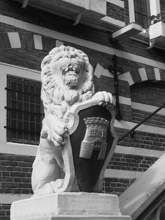 The stone lion protecting the shield of Alkmaar