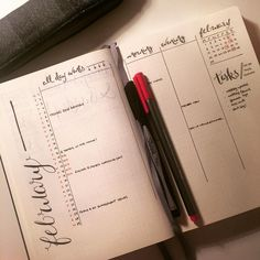 """#planwithmechallenge Day 2: February Monthly  Think I've figured out how I'd like to have my monthly intro spread. Wanted a list calendar to put events /…"""
