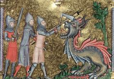 "Alexander the Great fighting a dragon, ""the hedus beste"". Illustration from The Romance of Alexander MS century Dragon Images, Early Middle Ages, Bizarre, Alexander The Great, Anglo Saxon, Medieval Art, My Favorite Image, 14th Century, Illuminated Manuscript"
