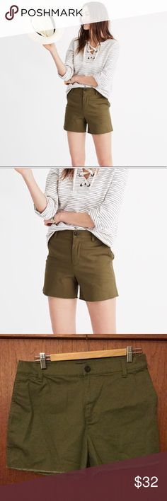 """Madewell high-rise twill shorts PRODUCT DETAILS Madewell's favorite high-rise jean shorts remade in superstretchy twill (read: so comfy). Worn just to try on. Cool raw hems give this pair a customized-it-yourself feel.  True to size. 3"""" inseam. Cotton/elastane. Machine wash. Import. Item G2414. Madewell Shorts"""
