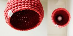 crochet lamp in red Crochet Lamp, Diy Crochet, Cotton Cord, Shabby Chic Interiors, Lampshades, Fairy Lights, Pendant Lamp, Knitting Projects, Candle Holders