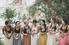 Tendencias en vestido de dama de honor 2015: conjunto de dos piezas en colores distintos. #wedding