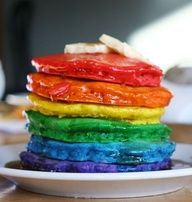 Rainbow pancakes for Spring break