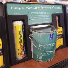 Sherwin-Williams Reduce-Odors Harmony Paint Retail Fixtures, Store Fixtures, Ladder Display, Floor Graphics, Brand Store, Green Colors, Indoor, Blue, Painting
