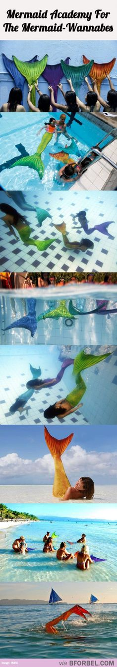 Mermaid Academy For The Mermaid Wannabes. Are you kidding me?? Where was this when I was a kid??? Heck, I'd do this now!