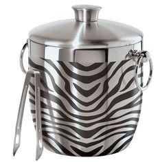 Zebra Stainless Steel Ice Bucket