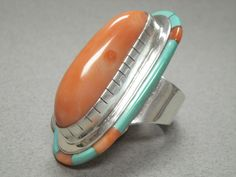Navajo Sterling Silver Turquoise & Coral Ring