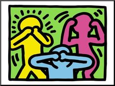 Size: 18x24in Pop Shop (See No Evil, Hear No Evil, Speak No Evil)We have more Keith Haring Posters. Choose from our catalog of over 500,000 posters! Harings populist attitude was central to both his imagery and the way it was distributed. He opened his Pop Shop in 1986 to make his images more accessible to the public. Internationally acclaimed artist Keith Haring (1958-1990) catapulted to fame during the 80's art boom when his graffiti-inspired chalk drawings appeared in New York subway stations Kos, Keith Haring Art, Logos Retro, Balance Art, See No Evil, Principles Of Design, Mini Canvas Art, Art Moderne, Elements Of Art