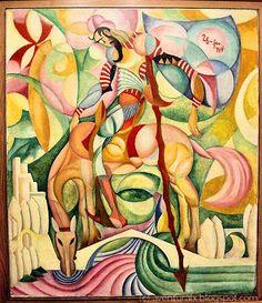 Don Quihote, 1914 by Amadeo de Souza-Cardoso. Art Lessons, Art History, Amazing Art, Cool Art, Street Art, Abstract Art, Artsy, Fine Art, Art Prints