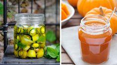 Naplňte poháre tekvicovými pochúťkami Pickles, Cucumber, Mason Jars, Food And Drink, Pumpkin, Canning, Drinks, Drinking, Pumpkins