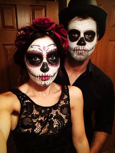 Day of the dead sugar skull makeup couple Halloween costume
