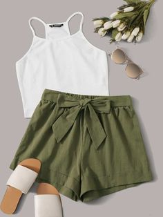 To find out about the Rib-knit Racerback Crop Top & Tie Front Cuffed Shorts Set at SHEIN, part of our latest Two-piece Outfits ready to shop online today! Cute Lazy Outfits, Crop Top Outfits, Mode Outfits, Girly Outfits, Pretty Outfits, Stylish Outfits, Shorts Outfits For Teens, Formal Outfits, Short Outfits