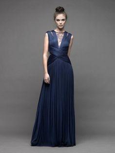 Vestidos de noche color azul oscuro