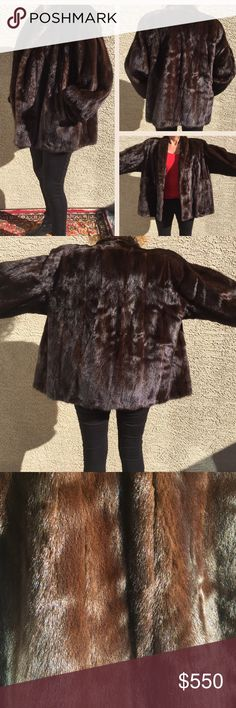 """Plus Size MINK Luxurious Brown Mink Stroller Coat size 20.                  Interior Label reads; Master Furriers Expressly for AVANTI FURS.                                                   Measurements; Collar to bottom 28""""....sleeve 23""""...shoulder to shoulder 20"""".                             2 side pockets.  (Model is 5'7"""" and size 6-8).           EXCELLENT pre-loved Condition! Avanti Furs Jackets & Coats"""