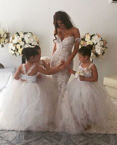 Dresses flower girl white lace
