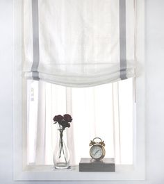 Gray Border Off-White Linen Relaxed Roman Shade - Modern White Sheer Curtains, Drapes Curtains, Drapery, Window Coverings, Window Treatments, Plywood Furniture, Roman Shades Kitchen, Linen Roman Shades, Hollywood Regency