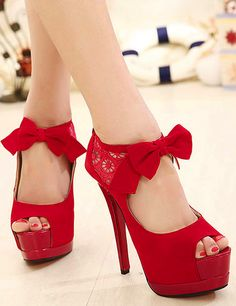 lace peep toe high heels