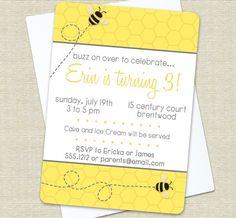 Bee Birthday or Baby Shower Invitations by swankypress on Etsy, $15.00