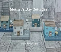 Mothers Day Cottages handcrafted using salvaged wood and natural driftwood www.DriftwoodSails.etsy.com Driftwood Crafts, Wooden Crafts, Small Wooden House, Wooden Houses, Pebble Painting, Pebble Art, Green Craft, House Ornaments, Timber House