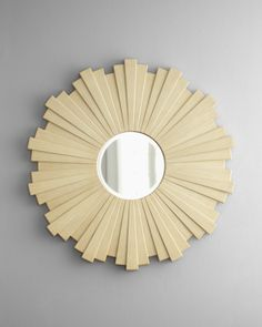 white washed wooden slat mirror