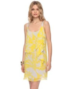 yellow and white georgette dress