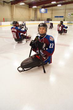 Vlad in his new sled hockey bucket #adaptive #winter #sport #hockey