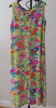 Retro Colourful Cotton Sleeveless Dress 1980. Casual Cotton
