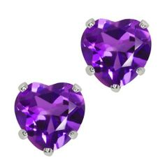 1.48 Ct Heart Shape Purple Amethyst 10k White Gold Stud Earrings 6mm Gem Stone King. $39.99. 1.48 Ct (6MM). 100% Natural Amethyst. 10K White Gold. Save 71% Off!