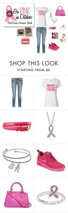 """""""Breast Cancer Awareness Month"""" by and-actchs on Polyvore featuring Current/Elliott, Bling Jewelry, LogoArt, NIKE, Vera Bradley and NYX"""