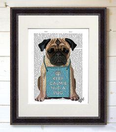 Hug a Pug Dictionary Print Original Illustration Art by FabFunky