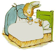 """'The Tale of Peter Rabbit', 1902 -- Beatrix Potter. Mrs. Josephine Rabbit doses Peter with chamomile tea. Potter biographer Linda Lear explains: """"The original letter [on which Peter Rabbit is based] was too short to make a proper book so [Potter] added some text ... and made it more suspenseful... Then she copied it out into a stiff-covered exercise book, and painted a coloured frontispiece showing Mrs. Rabbit dosing Peter with camomile tea."""""""