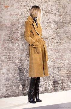 Frame Denim FW 2015 presentation, suede trench coat & knee-high leather boots // Garance Doré #style #fashion