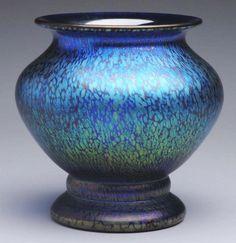 Loetz Cobalt Papillion Art Glass Vase