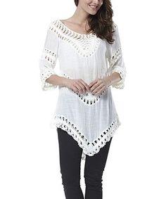 White Crochet Panel Tunic