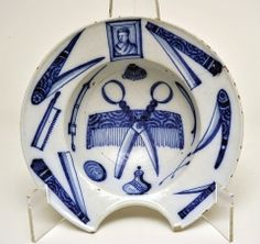Barber's Bowl, c.1750, French, Rouen (This would be nice to add to my cobalt & white collection!)