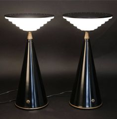 Shigeaki Asahara; Enameled Metal, Glass and Brass 'Ziggurat' Table Lamps for Stilnovo, 1980s.