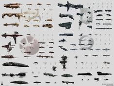 Compilation of sub-captial ships from EVE online universe.