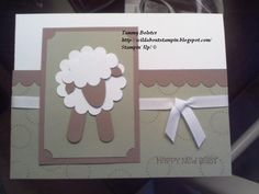 A Stampin' Up! Sheep Cards, Welcome Card, Congratulations Baby, Sheep And Lamb, Punch Art, Handmade Baby, Cool Cards, Baby Cards, Party Time