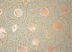 delicate seashell and coral pattern modernizes the Victorian design Victorian Design, Victorian Art, Victorian Rooms, Eclectic Wallpaper, Antique Wallpaper, Benjamin Moore Paint Store, Historic New England, Coral Pattern, Art And Craft Design