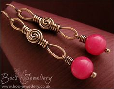 Antiqued copper long drop earrings featuring a rosebud knot link and rapberry jade bead. - Hand Crafted Jewellery by Boo - original jewellery in copper, bronze and Sterling silver