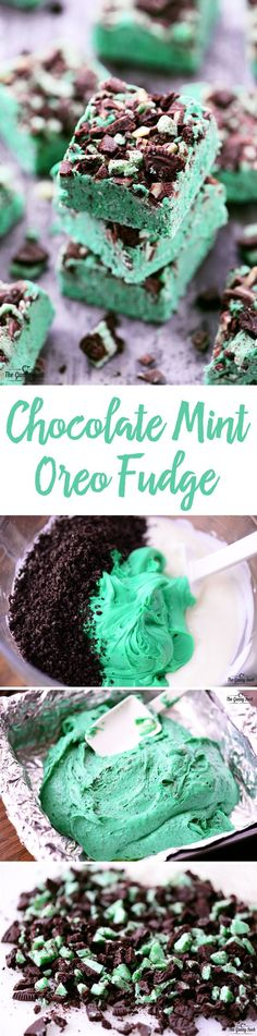 This Chocolate Mint Oreo Fudge recipe is smooth and creamy with crunchy bits of . This Chocolate Mint Oreo Fudge recipe is smooth and creamy with crunchy bits of mint Oreos and Andes mints. It& easy to make with only five ingredients. Mint Recipes, Fudge Recipes, Candy Recipes, Chocolate Recipes, Sweet Recipes, Dessert Recipes, Mini Desserts, Delicious Desserts, Christmas Desserts