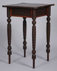 Federal Painted and Inlaid Stand with Twist-turned Legs.