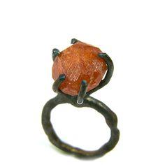 Raw Spessartite Garnet Dark Silver Ring - Feuerbaum. via Etsy.