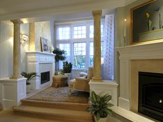 sitting room with fireplace in master bedroom