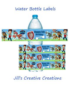 Paw patrol water bottle labels. If you have any questions placing an order please feel free to contact us jillsinvitations@gmail.com LIKE US ON FACEBOOK: https://www.facebook.com/groups/jillscreativec