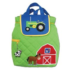 Amazon.com: Stephen Joseph Quilted Farm Backpack and Tractor Lunch Box Combo - Toddler Backpacks - Preschool Backpacks: Everything Else